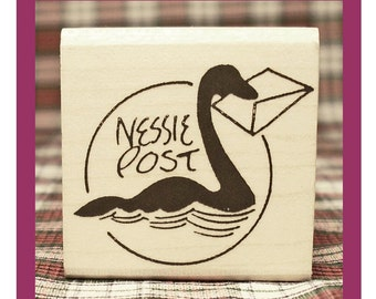Small Nessie Post Rubber Stamp Loch Ness Monster Scotland #803