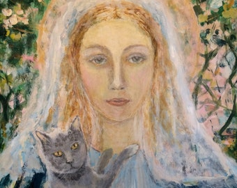 Saint Gertrude Patron Saint of Cats icon-- original painting