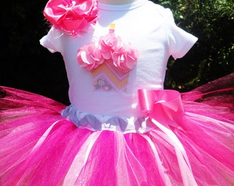 Baby Girl 1st Birthday Outfit-Pink 1st Birthday Tutu Outfit-Baby Girl First Birthday Outfit-One Year Old Girl Birthday Outfit-Includes Bow
