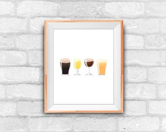 instant download beer art print, printable art, wall decor