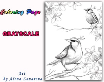 Coloring Page, Grayscale. Digi Stamp. Fantasy Birds