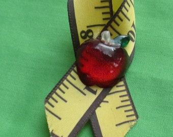 Retro Red Apple Tape Measure Ribbon Lapel Pin Teacher Gift
