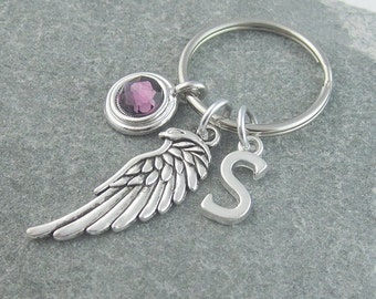 Angel wing keychain, angel wing keyring, personalized keyring, custom keychain, swarovski birthstone, birthstone keychain, memorial keychain