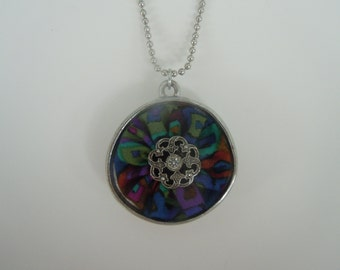 Silver Plated Pendant With Multi Color Mosaic Print Fabric Yo Yo and Crystal Button Center  Pendant