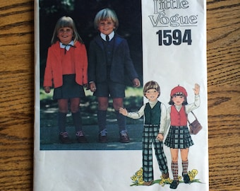 Childs Vogue Pattern / Childrens Jacket Pattern / Girls Skirt Pattern / Childrens Pants Pattern / Little Vogue 1594  / UNCUT