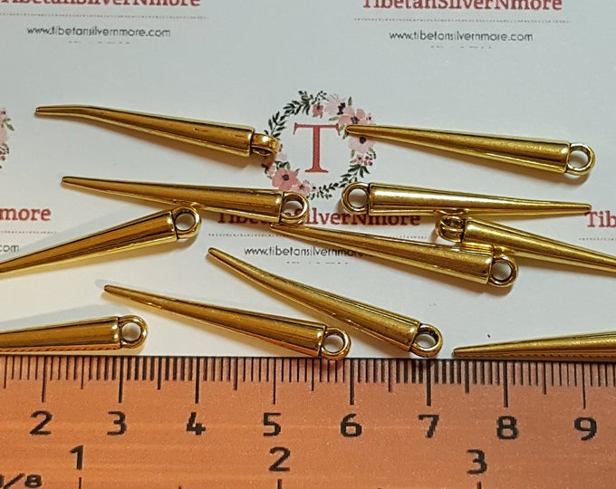 14 pcs per pack 34x5mm Long Pointy Spike solid Stick Drop Charms Gold Tone Lead Free Pewter