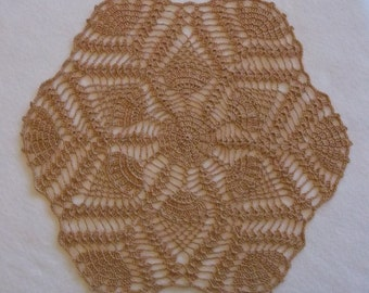 Crochet Doily in Copper Brown, Hexagon Doily, Round Doily, Doily, Brown Doily, Copper Doily, Pineapple Doily