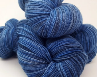 A River Runs through It, Blue, Navy,  Merino Cashmere Nylon, MCN, ColorPurl Ritzy XL, Hand Dyed Sock Yarn, Sock Weight, 600 yards