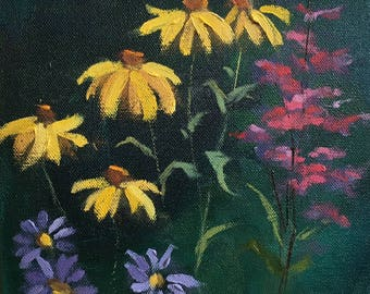 """Original oil painting of summer flowers, impressionistic, yellow, blue and pink red flowers, gallery wrapped stretched canvas, 8"""" x 8"""""""