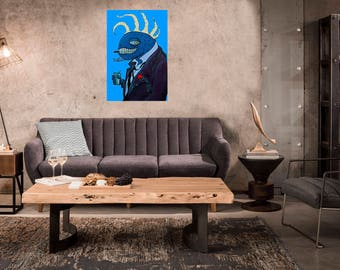 This Cool Smoking Alien who thinks he knows it all (Canvas Print)!