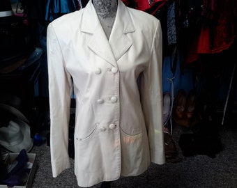 Madiskin lamb skin leather jacket size 10 women 1980 cream color