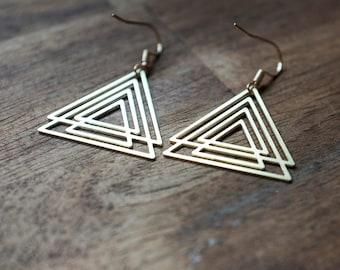 Geometric tribal triangle  gypsy earrings boho
