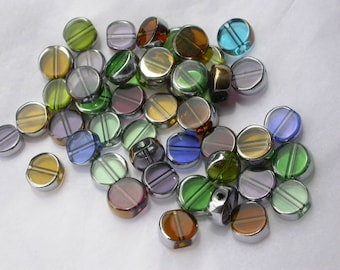 set of 20 glass beads silver