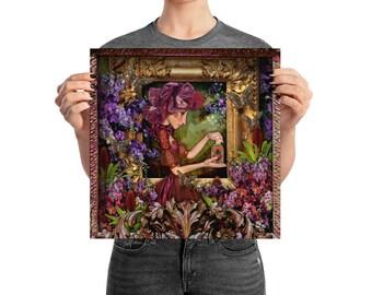 Poster, Portrait #70, Glow, wall art, digital collage, digital print, art print, wonderland, art, 18x18, 14x14, 10x10,