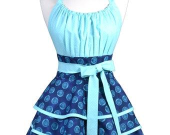 Flirty Chic Pinup Apron - Turquoise Blue Polka Dot Apron - Womens Sexy Cute Retro Kitchen Apron with Pocket - Monogram Option
