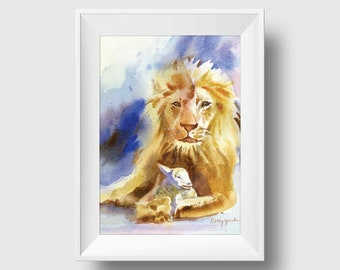 Lion and Lamb Watercolor Art Print Bible Wall Decor Print Christian Wall Art