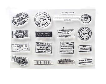 Travel Passport Stamps Stamp, Rubber Stamps, Alphabet Stamps, Journal Accessories - STM111