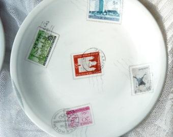 Set Of 4 Limoges Porcelain Singer Dessert Plates - Stamps Pattern - Porcelain Singer Limoges France - Table Decor - No Chips - Vintage Finds
