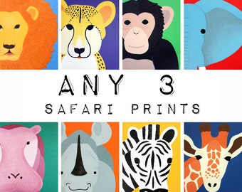 Jungle nursery art safari artwork prints for baby & child. SET OF ANY 3 modern prints of wild zoo animals theme for kids rooms and playrooms