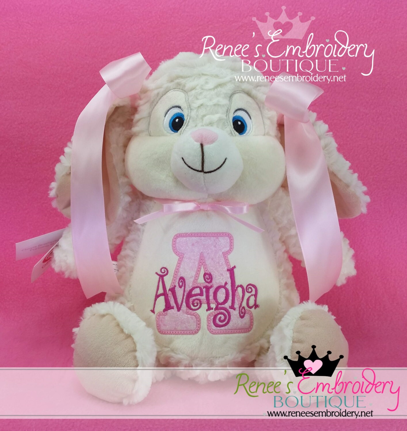 Personalized easter bunny stuffed rabbit birth announcement zoom negle Image collections