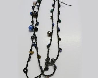 Wrap Necklace, Crocheted Beaded, Long Strand  or Bracelet Boho Layering Accessory, Festival, Beach Wear