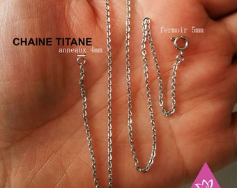 chain necklace TITANEbasque steel pure titanium 1.50 mm flat O for sensitive skin, add your own pendant hypoallergenic