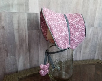 Baby Toddler Dusty Rose Pink vintage Victorian pattern  bonnet Handmade with Premium cotton fabric