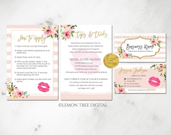 Lipsense business cards bundle, lipsense marketing, senegence business cards, tips and tricks, application, watercolor, blush, floral - LS01