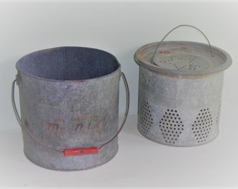 Vintage Galvanized Metal Minnow Bucket Pail Red Handle 2 Piece Min-O-Life