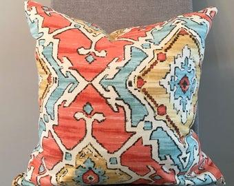Orange, Aqua, Gold Geometric Custom Pillow Covers in Sundance Tangerine Designer Fabric / Handmade Home Decor