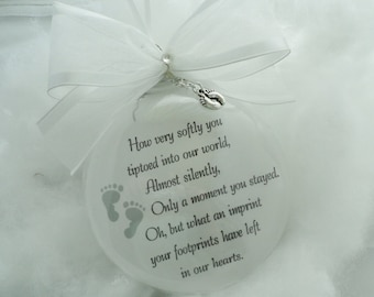 Baby Memorial Ornament You Tiptoed Into Our World, Free Personalization and Charm,