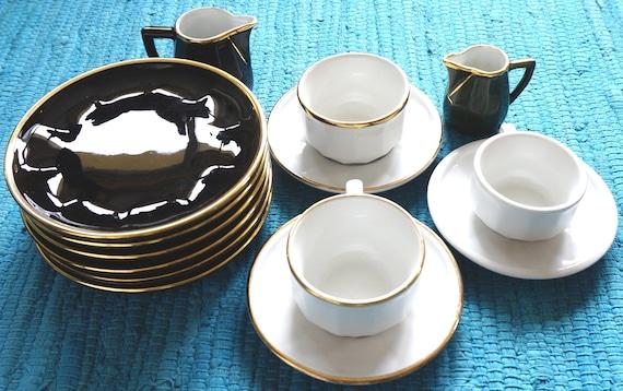 Vintage black white & gold porcelain Apilco France. Cups