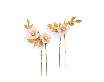 COCO | gold blush floral hair pins, bridal hair pins, wedding hair pins