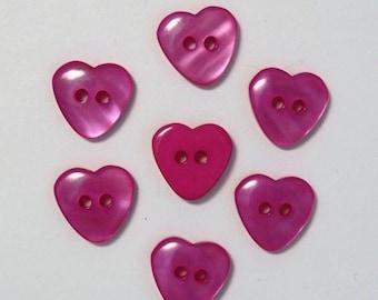 Set of 10 cherry - 001986 13mm heart buttons