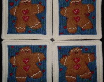 Primitive Whimsical Country GINGERBREAD Coasters Mug Mats Hot Pads Trivets