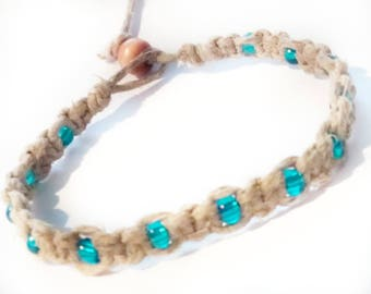 Macrame Hemp Ankle Bracelet With Aqua Seed Beads, Beaded Anklet, Hemp Anklet, Hemp Bracelets, Jewelry, Summer Jewelry, Beach Ankle Bracelet.