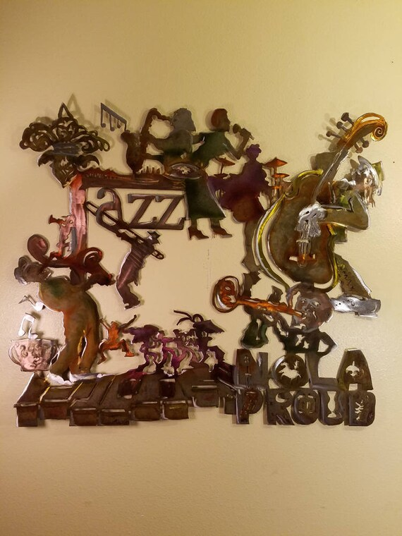 & New Orleans Jazz metal wall art skyline w/bridge Louie