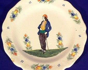 Rare ca.1883 Quimper HB ONLY Petit Breton with Stick Scalloped Plate