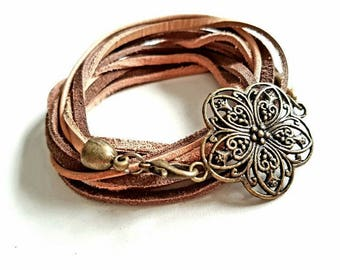 Leather Wrap bracelet ~ cherry blossom ~ Brown