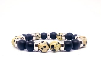 Mens Dalmatian Jasper bracelet