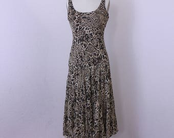 Leopard print dress / sleeveless /  tiered dress /  summer dress /  size 4