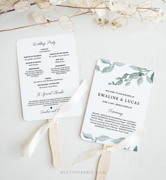 Fan or Flat Wedding Program Template, INSTANT DOWNLOAD, Printable Order of Service, 100% Editable Text, DIY, Boho Greenery #019-412WP