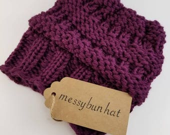 Purple Hand Knit Messy Bun Ponytail Beanie