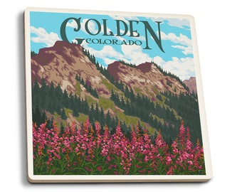 Golden, CO - Fireweed & Mountains - LP Artwork (Set of 4 Ceramic Coasters)