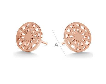 Geometric Sterling Silver Earrings Gold Plated Gift 9 mm