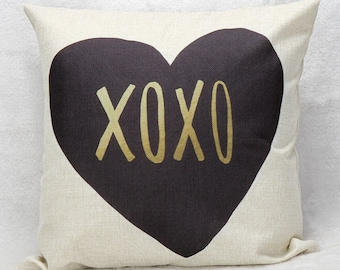 """Heart 18"""" Pillow Cover Throw Pillow Hugs and Kisses"""
