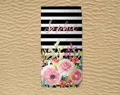 Monogram Beach Towel - Personalized Beach Towel - 30x60 Towel - Custom Beach Towel - Bridesmaid Towels - Floral Towel - Black Stripe Towel