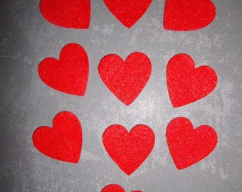 set of 10 red felt hearts