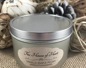 Vanilla Maple Pecan Soy Hemp Wick 6oz. Tin Candle