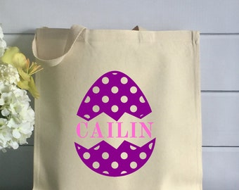Personalized Easter Tote Bag - Kids Cotton Tote with Polka Dot Egg (Item 1263J)